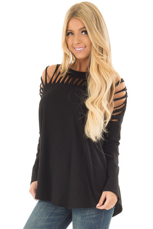 Black Top with Distressed Neckline front close up