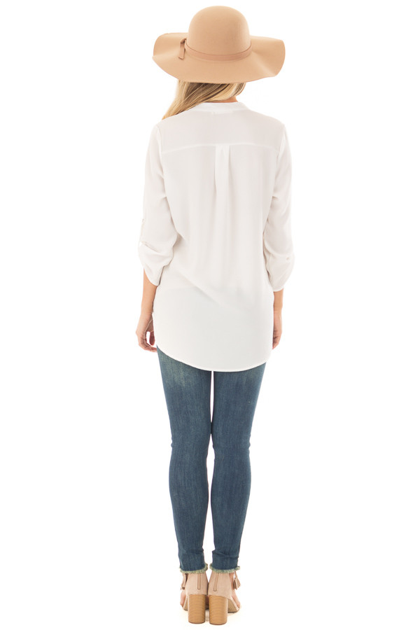 Ivory Blouse with Roll Up Sleeve Detail back full body