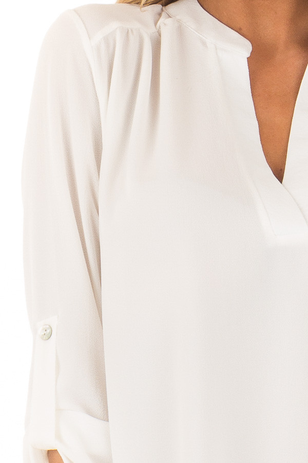 Ivory Blouse with Roll Up Sleeve Detail detail