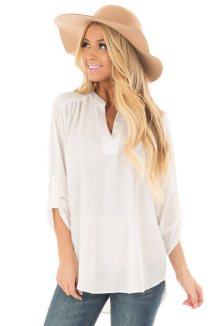 Ivory Blouse with Roll Up Sleeve Detail front close up