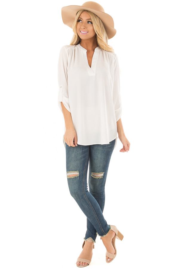 Ivory Blouse with Roll Up Sleeve Detail front full body