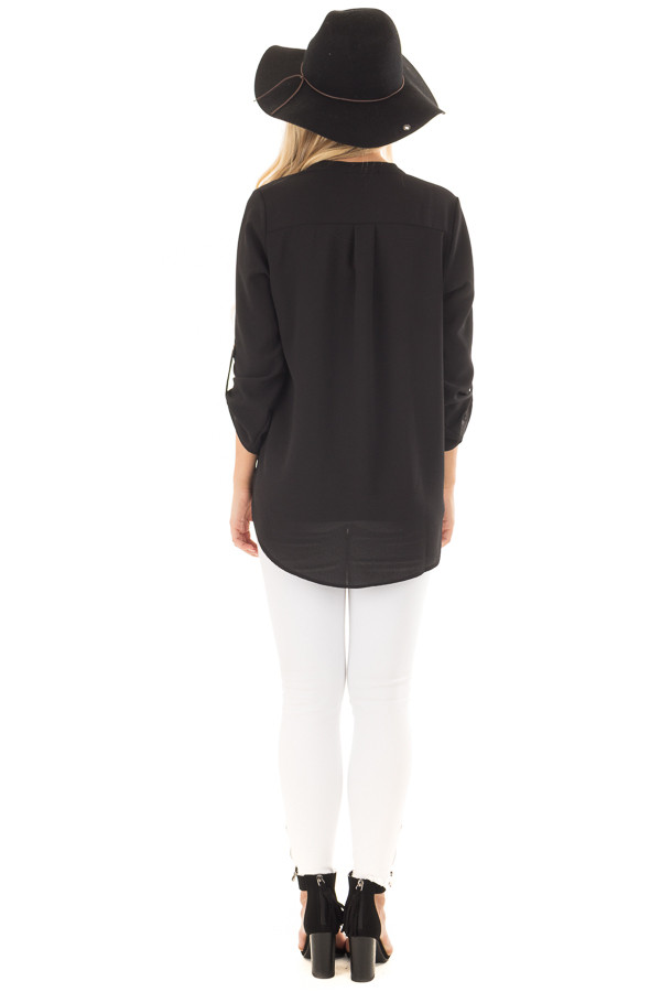 Black Blouse with Roll Up Sleeve Detail back full body