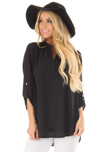 Black Blouse with Roll Up Sleeve Detail front close up