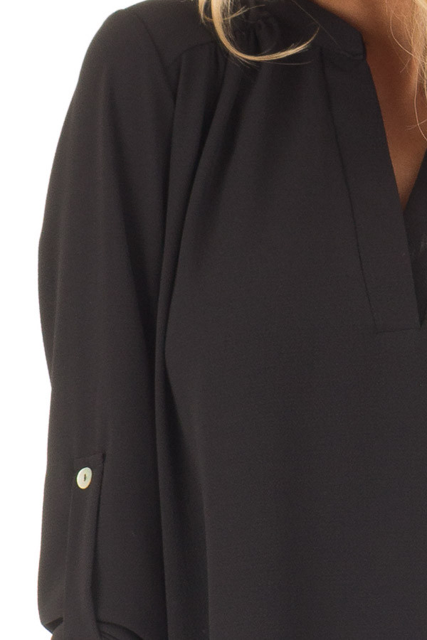 Black Blouse with Roll Up Sleeve Detail detail