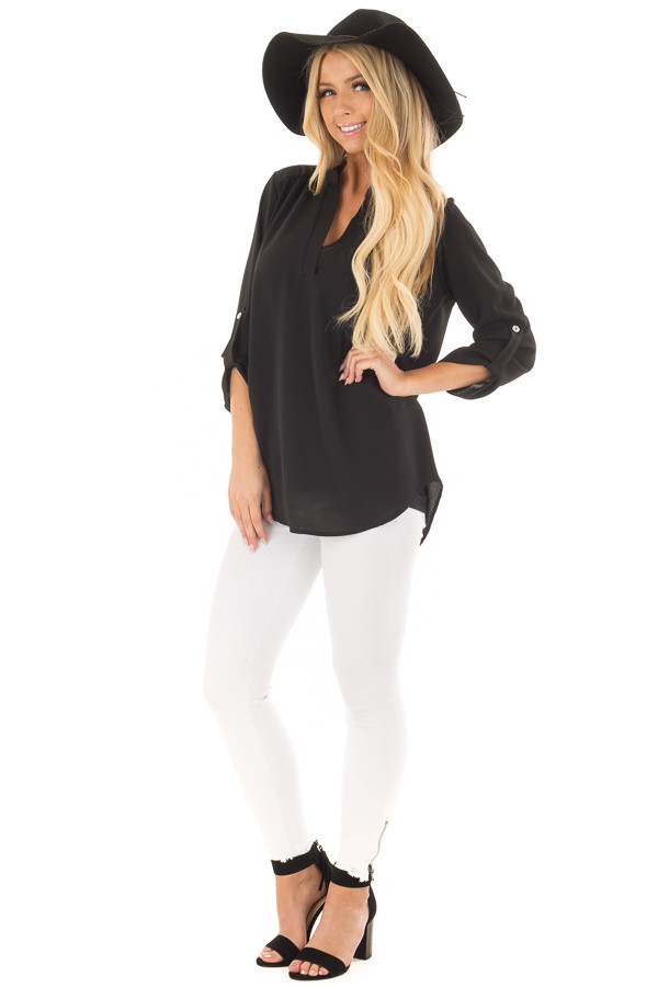 Black Blouse with Roll Up Sleeve Detail front full body