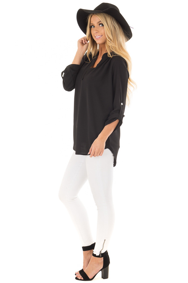 Black Blouse with Roll Up Sleeve Detail side full body