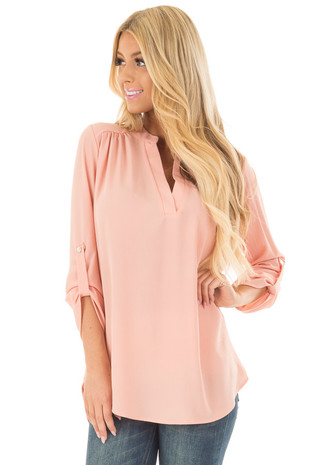 Peach Blouse with Roll Up Sleeve Detail front close up