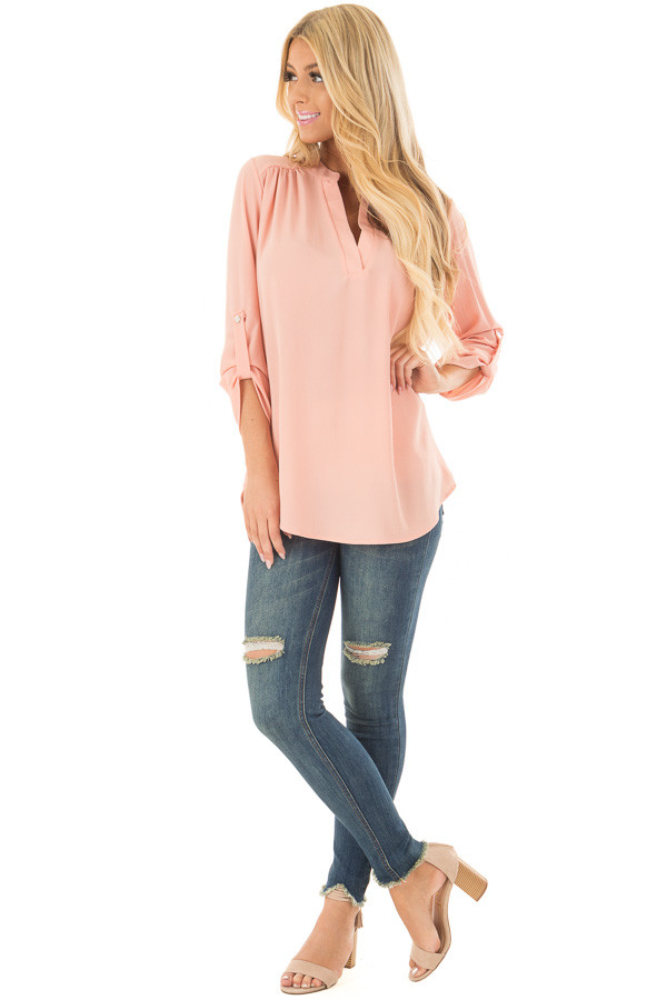 Peach Blouse with Roll Up Sleeve Detail front full body