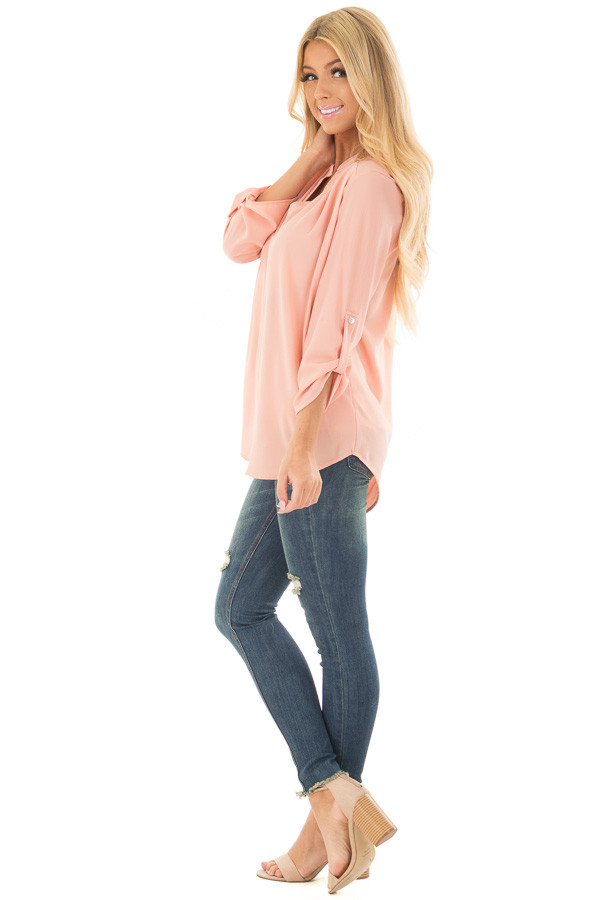Peach Blouse with Roll Up Sleeve Detail side full body