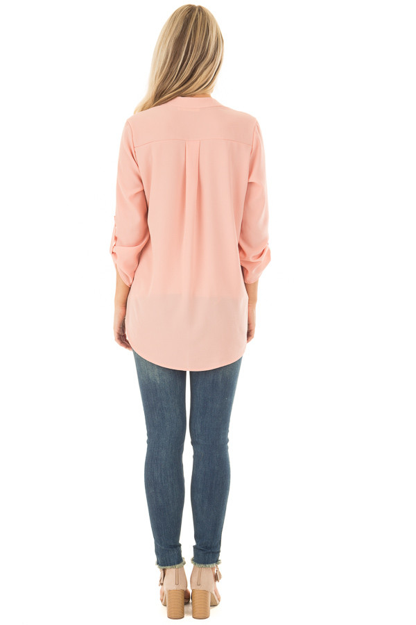 Peach Blouse with Roll Up Sleeve Detail back full body
