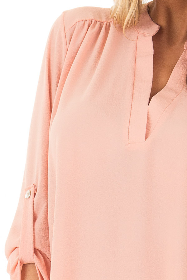 Peach Blouse with Roll Up Sleeve Detail detail