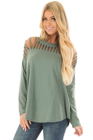 Hunter Green Top with Distressed Neckline front close up