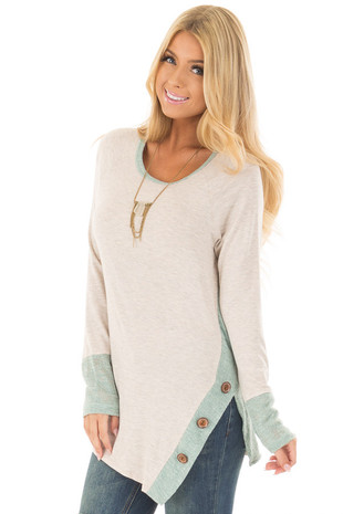 Oatmeal Long Sleeve Top with Sage Contrast front close up