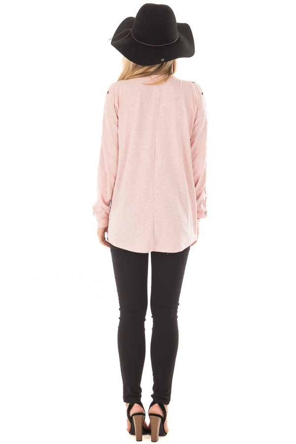 Blush Cold Shoulder Top with Eyelet Lace Up Sleeves back full body
