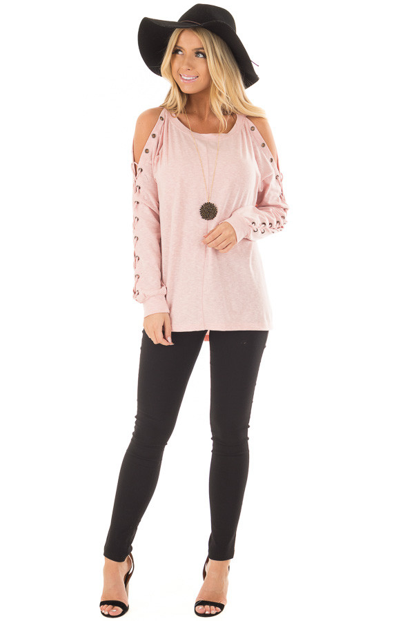 Blush Cold Shoulder Top with Eyelet Lace Up Sleeves front full body