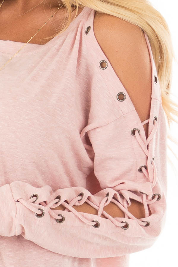Blush Cold Shoulder Top with Eyelet Lace Up Sleeves detail