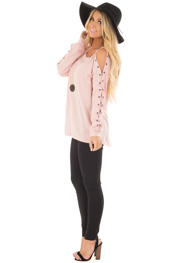 Blush Cold Shoulder Top with Eyelet Lace Up Sleeves side full body