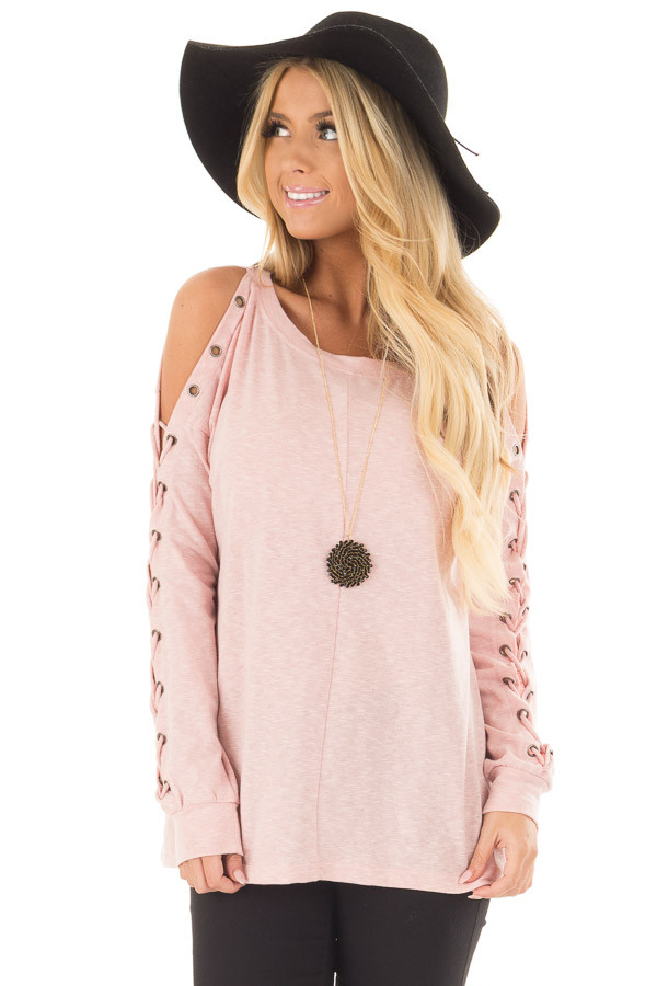Blush Cold Shoulder Top with Eyelet Lace Up Sleeves front close up