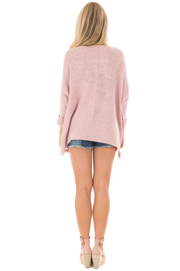 Misty Pink 3/4 Sleeve Oversized Sweater with Folded Cuffs back full body