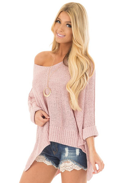 Misty Pink 3/4 Sleeve Oversized Sweater with Folded Cuffs front close up