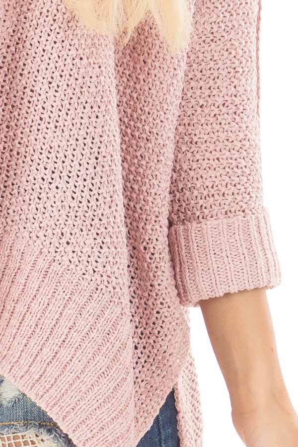 Misty Pink 3/4 Sleeve Oversized Sweater with Folded Cuffs detail