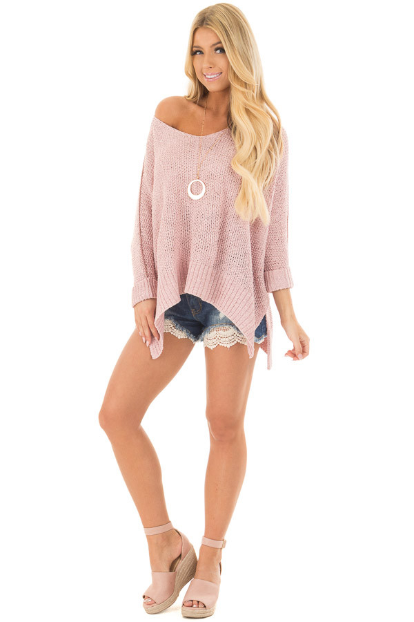 Misty Pink 3/4 Sleeve Oversized Sweater with Folded Cuffs front full body