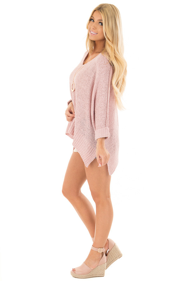 Misty Pink 3/4 Sleeve Oversized Sweater with Folded Cuffs side full body