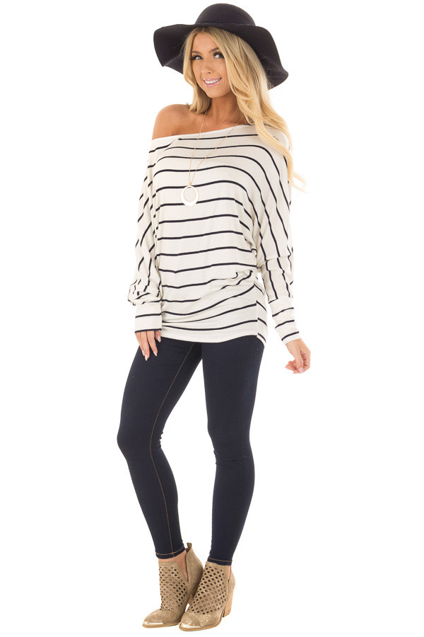 Black and Ivory Striped Off the Shoulder Dolman Top front full body