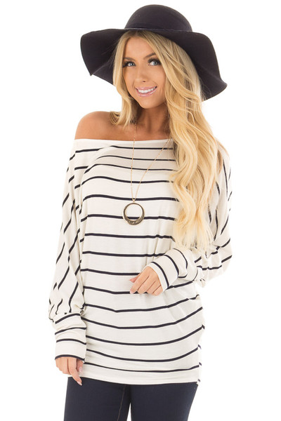 Black and Ivory Striped Off the Shoulder Dolman Top front close up