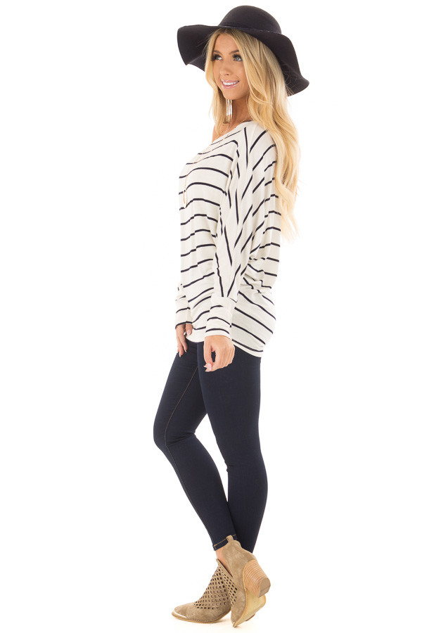 Black and Ivory Striped Off the Shoulder Dolman Top side full body
