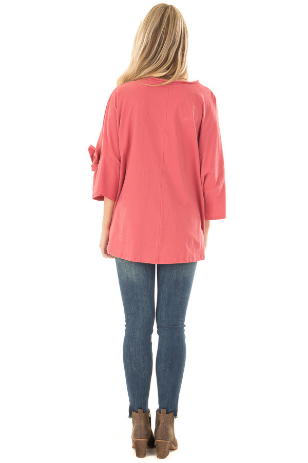 Dark Coral Oversized 3/4 Sleeve Top with Tie Detail back full body