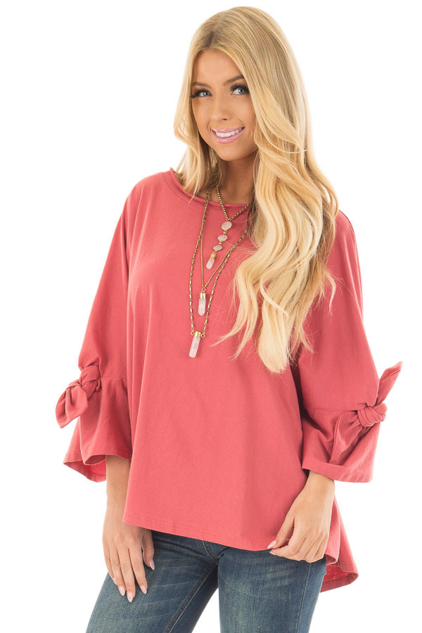Dark Coral Oversized 3/4 Sleeve Top with Tie Detail front close up