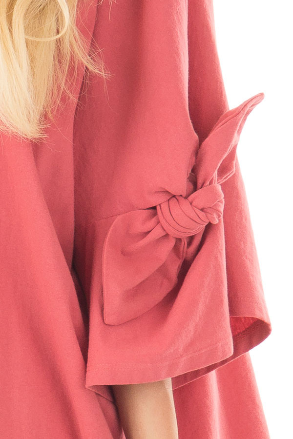 Dark Coral Oversized 3/4 Sleeve Top with Tie Detail detail