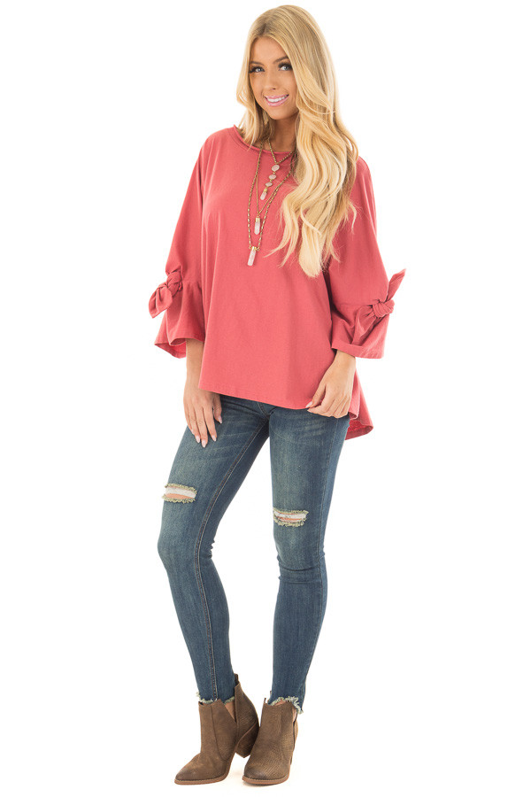 Dark Coral Oversized 3/4 Sleeve Top with Tie Detail front full body