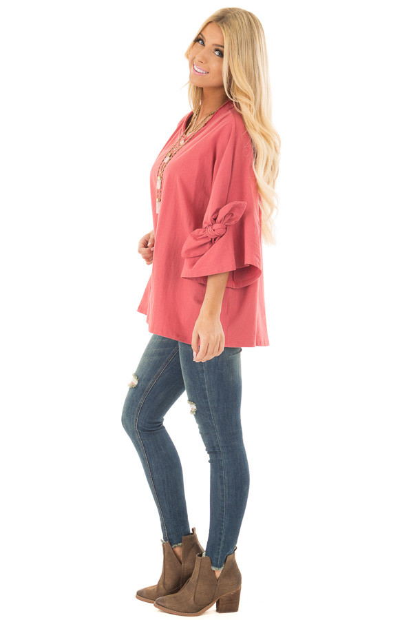 Dark Coral Oversized 3/4 Sleeve Top with Tie Detail side full body