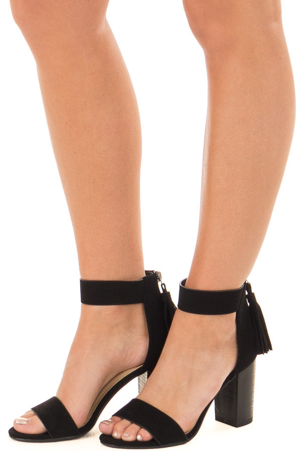 Black Faux Suede High Heels with Tassel Zipper Detail front side