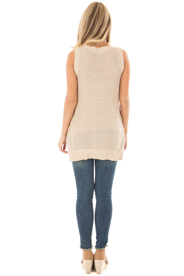 Taupe Knit Tank Top with Lace Up Detail back full body