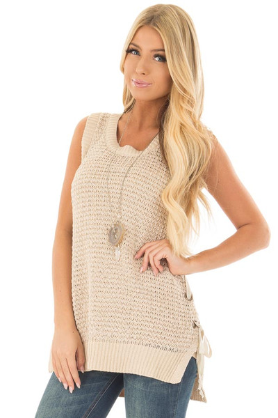 Taupe Knit Tank Top with Lace Up Detail front closeup