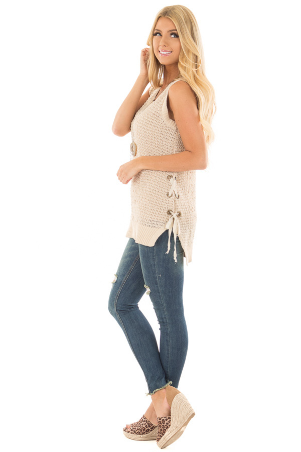 Taupe Knit Tank Top with Lace Up Detail side full body