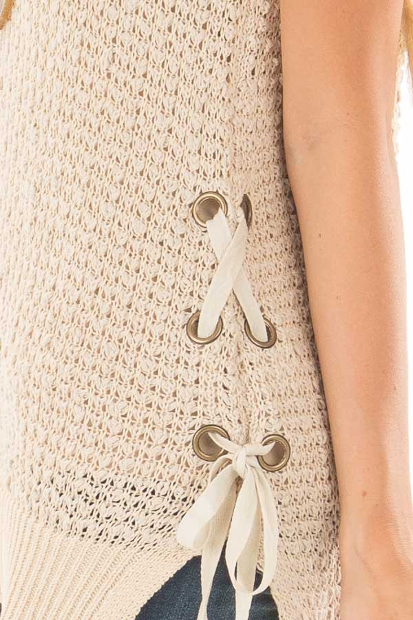 Taupe Knit Tank Top with Lace Up Detail side detail