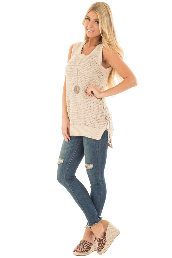 Taupe Knit Tank Top with Lace Up Detail front full body