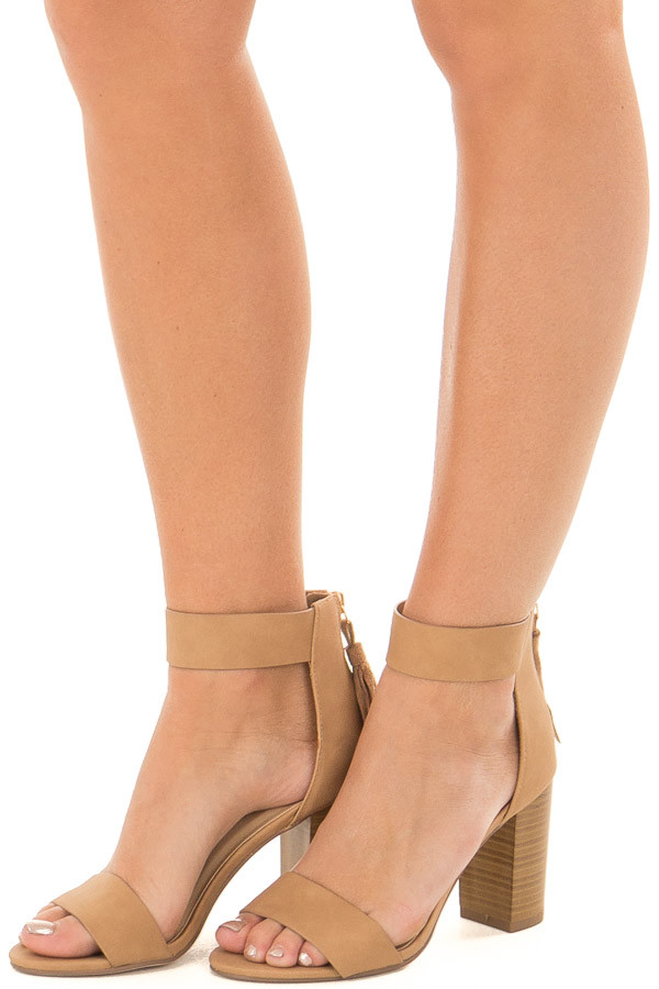 Dark Sand Faux Leather High Heels with Tassel Zipper Detail front side