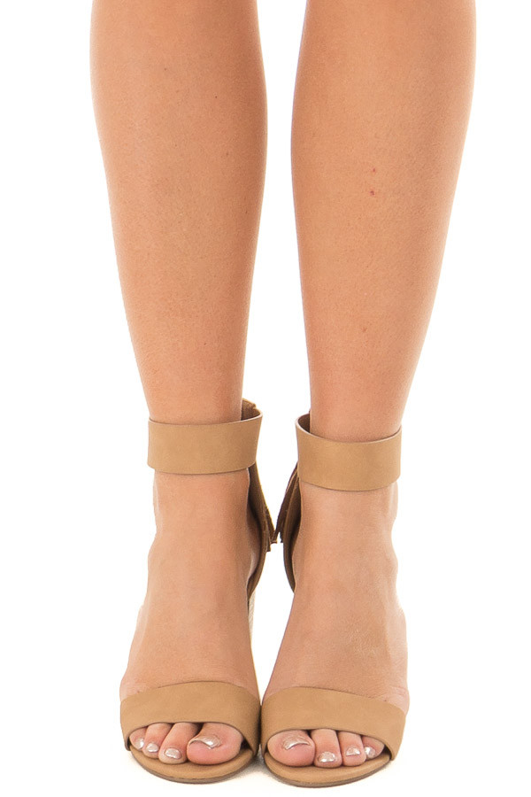 Dark Sand Faux Leather High Heels with Tassel Zipper Detail front