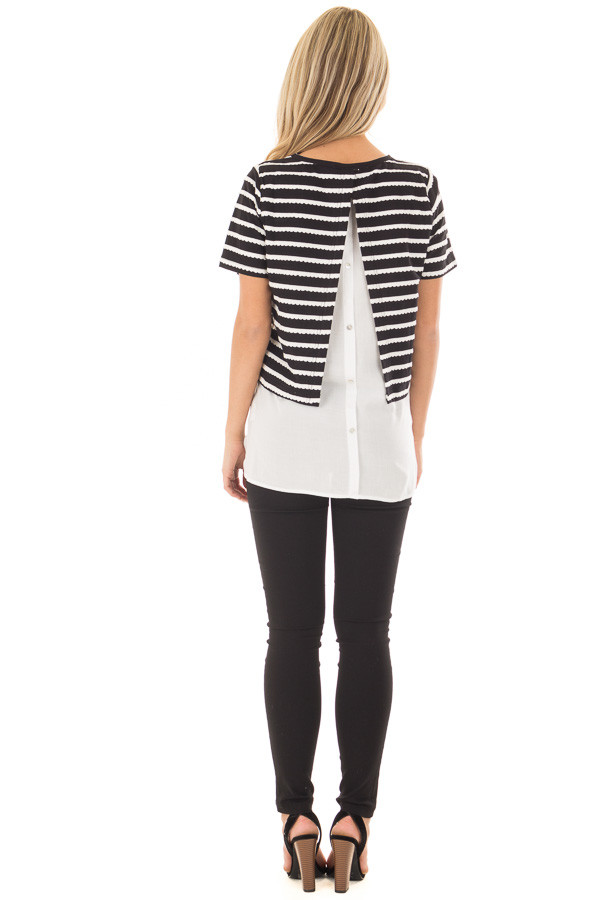 Black and White Striped Layered Top with Button Back Detail back full body