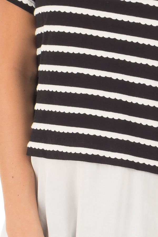 Black and White Striped Layered Top with Button Back Detail front detail