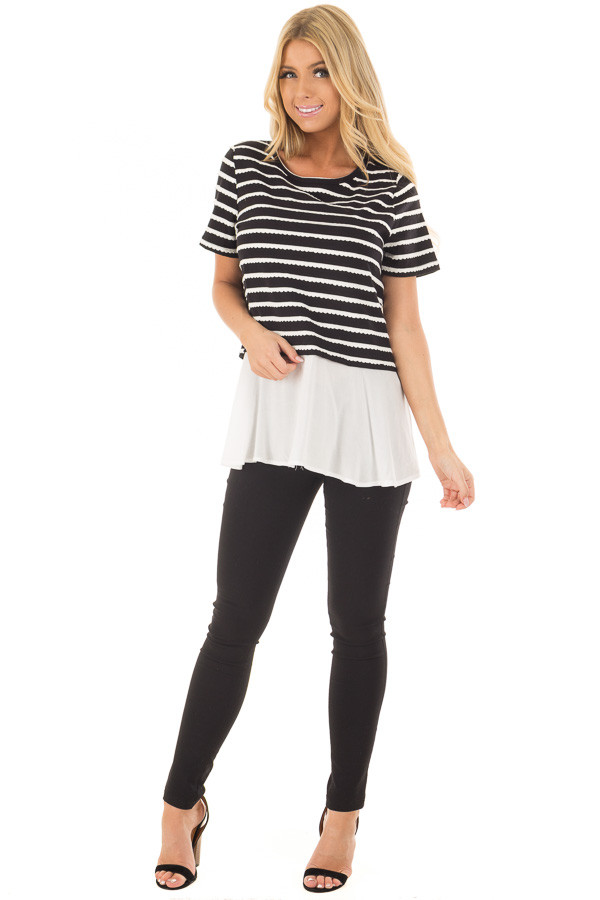 Black and White Striped Layered Top with Button Back Detail front full body