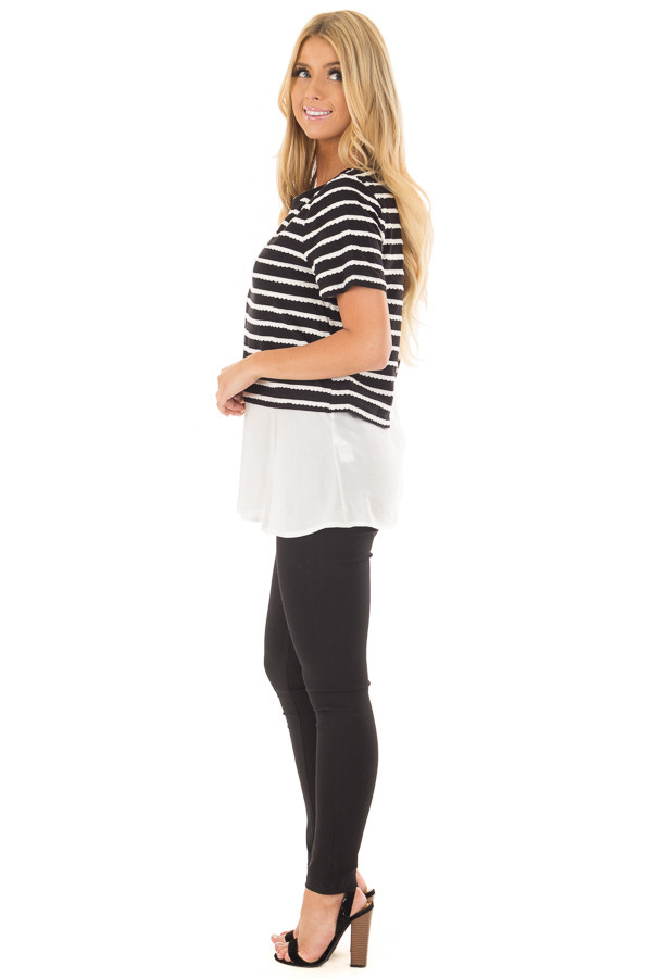 Black and White Striped Layered Top with Button Back Detail side full body