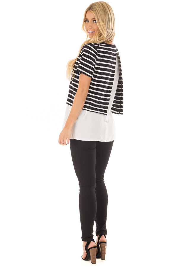 Black and White Striped Layered Top with Button Back Detail over the shoulder full body