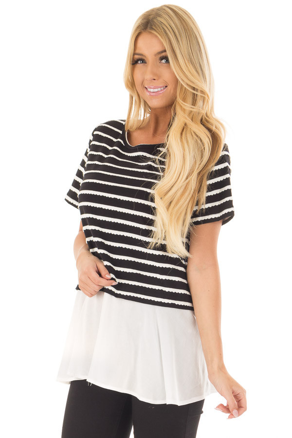 Black and White Striped Layered Top with Button Back Detail front closeup