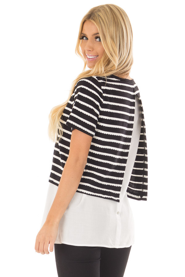 Black and White Striped Layered Top with Button Back Detail over the shoulder closeup